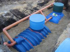 Laying of networks autonomous the sewerage from