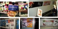 Placement of advertizing stickers in cars of the