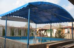 Tailoring of a polymeric awning for the pool