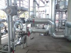 Thermal insulation of pipelines or processing