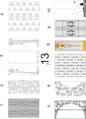Декорирование стекол для мебельных фасадов пескоструйной обработкой 13(1-10), 14 (1-10)