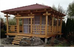 Construction of wooden arbors