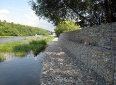 Bank protection, strengthening of coast gabions