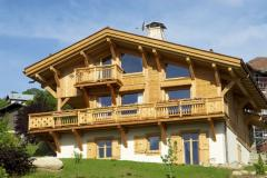 Construction of wooden houses from felling and