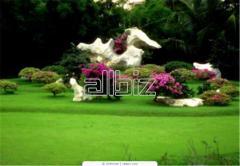 Благоустройство сада - галька, ландшафтный натуральный камень