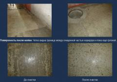 Cleaning of surfaces of INDUSTRIAL SHOP by means