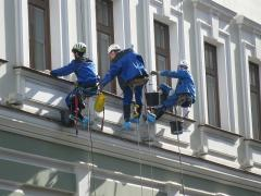 Cleaning of a facade high-rise works