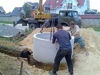 Установка септика выгребной из бетонных колец