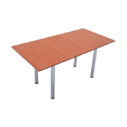 Rectangular wooden table with the chromeplated
