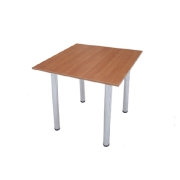 Square wooden table with the chromeplated legs
