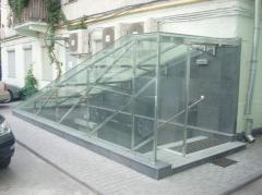 Монтаж стекляных потолков