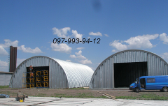 Production of beskarkasny hangars