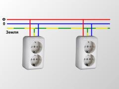Connection of sockets, switches, lighting devices