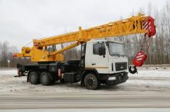 The truck crane on the basis of MAZ, loading