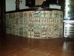 Facing of bar counters ceramic tiles according to