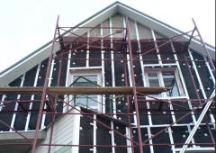 Installation warm and waterproofings on facades of