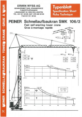 Rent of a tower crane of Peiner SMK 106/2 Germany