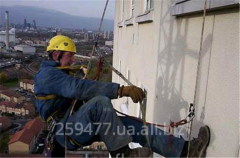 Warming of walls, high-rise works