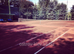Tennis courts at hotel on the Trukhanovy island