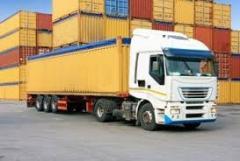 Перегрузка товаров из контейнеров на...