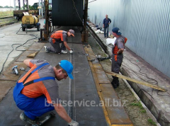 Repair of conveyer belts - longitudinal cuts of the conveyer belt of any length