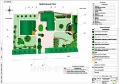 Marking drawing of a garden, landscape projec