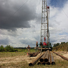 Well drilling on water