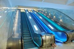 Decorative design of escalators and elevators
