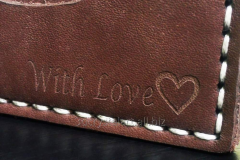 Laser engraving on leather products