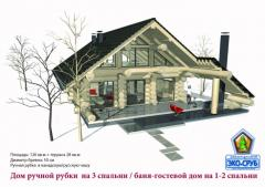 The wooden house of the manual cabin from a