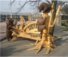Sculptures from a tree, decor elements for a