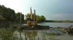 Deepening of a bottom floating excavator