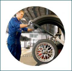 Wheels and tires adjustment and ballansing