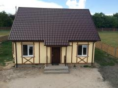 Construction of houses, cottages from plastered a