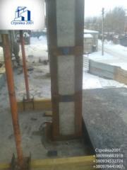 Усиление колонн обоймой. Усиление поврежденных ж/б колонн.
