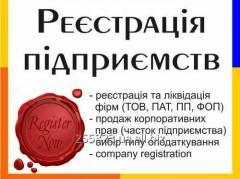Реєстрація/ліквідація компаній, ТОВ (ООО), внесення змін до установчих документів, виписки