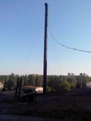 Демонтаж аварийной дымовой трубы высотой 46 метров