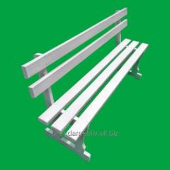 Rental white benches with backrest