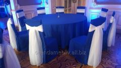 Rent of cloths blue on round tables in Lviv.