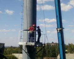 Installation of a chimney 46 meters high, with a