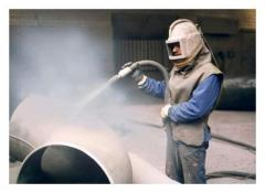 Sandblasting of metal products