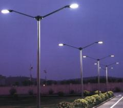 Outside,  the street lighting