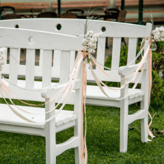Аренда скамейки Белая Свадебная