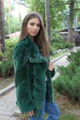 Меховая куртка с плащевкой из кролика Рекс