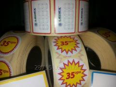 Производство самоклеящихся етикеток, стикеров, бирок в рулонах.