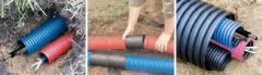 Прокладка кабеля в земле в пластиковой трубе, диаметром до 32