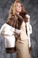 Шуба из норки NAFA (Канада) цвета жемчуг и пастель Real mink fur coats jackets