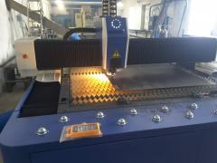 Laser cutting of metal.