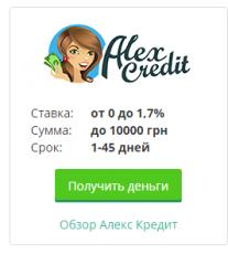 В кредит деньги в Alexcredit онлайн
