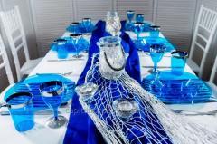 Сервировка одноразовая посуда фуршета и кейтеринга стеклопластик синий серебро круглый 90предметов/6 чел
